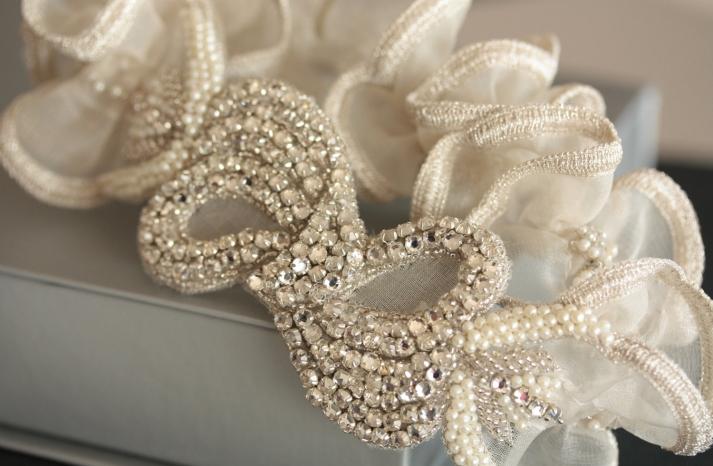 beaded with ruffles wedding garter