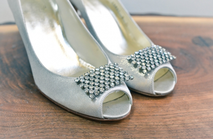 Vintage beaded wedding shoe clips