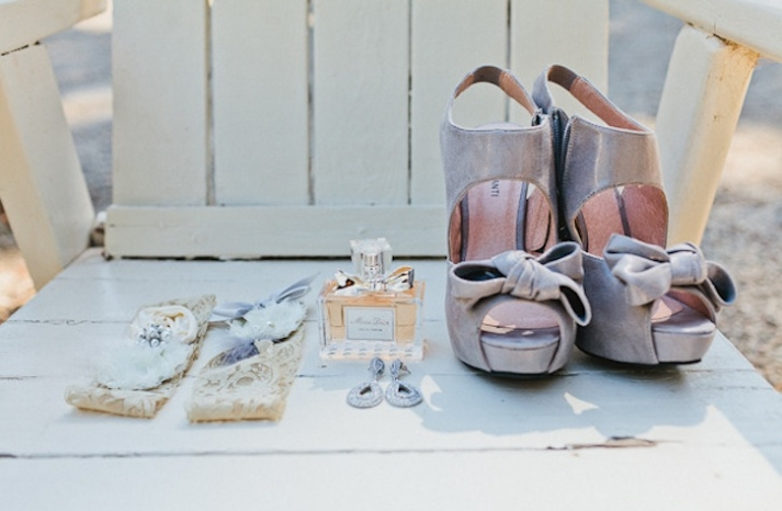 Wedding Photography Details Gray Bridal Shoes and Lacy Garter