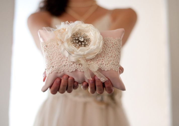 Blush pink ivory lace wedding ring bearer pillow