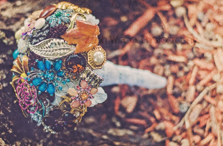 Vintage fall wedding unique brooch bouquet