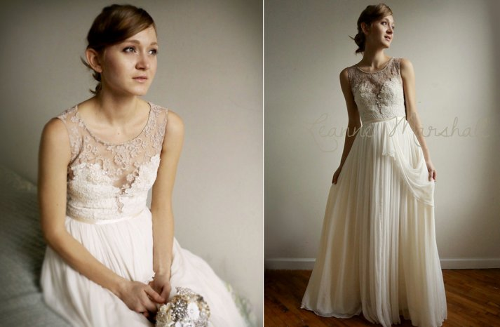 Illusion neck lace and chiffon wedding gown
