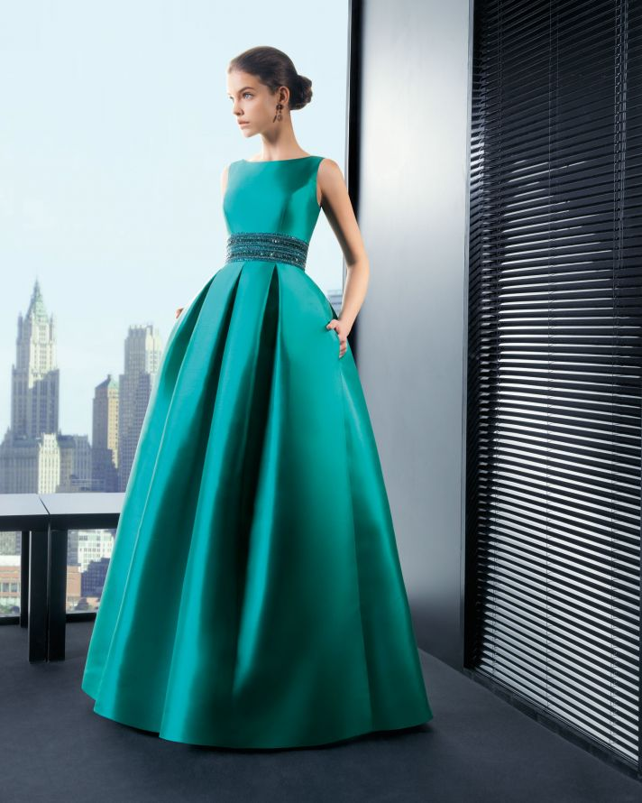 Aqua Satin Bridesmaid Dress with Pockets