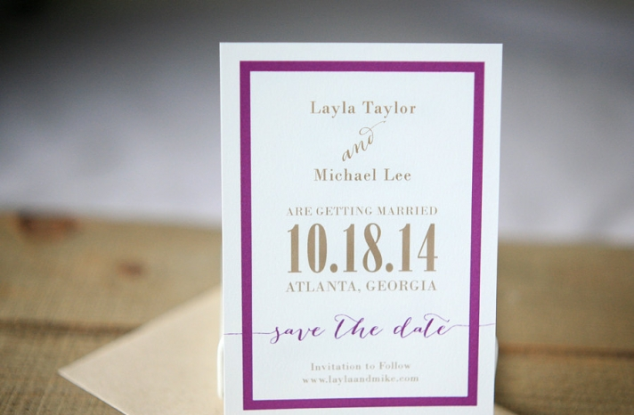 White wedding save the date with purple and beige