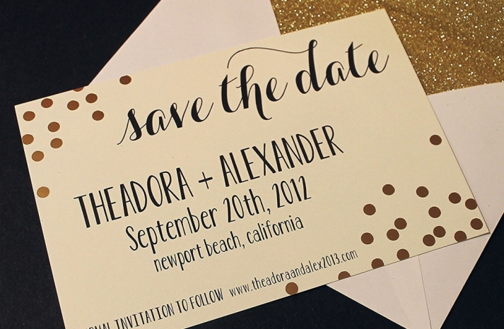 Elegant ivory black and gold wedding save the date