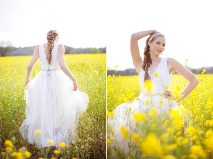 Romantic bride poses in field of yellow flowers