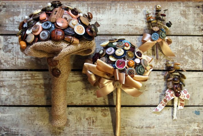 Rustic vintage button wedding bouquet and boutonnieres