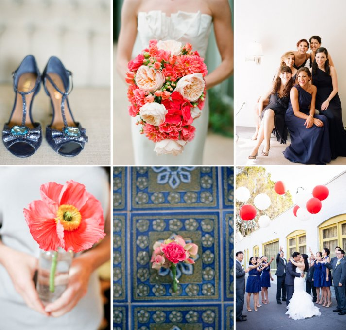 Navy and Neon Coral Wedding Color Inspiration