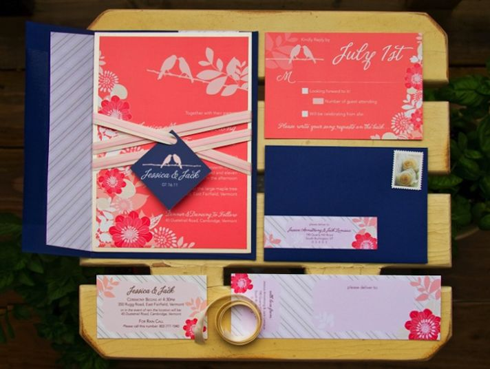 Gorgeous navy and coral wedding invitations