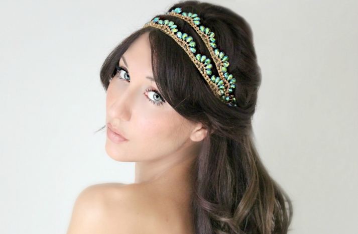 Gold and Turquoise bridal headband