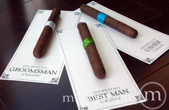 cigars to ask the best man to be in the wedding
