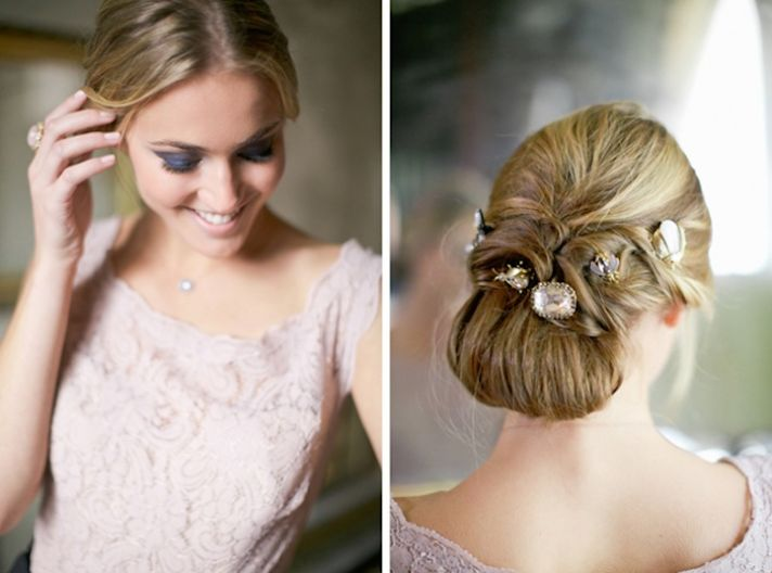 Unique bridal updo with vintage jewels