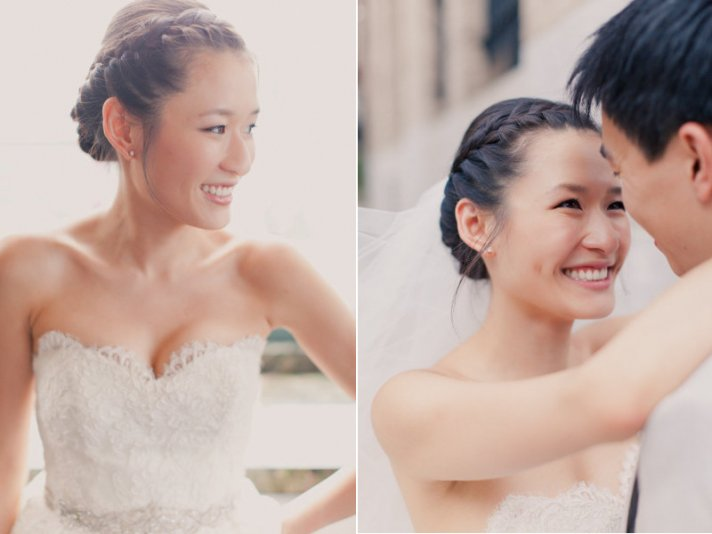 Braided wedding updo with side part
