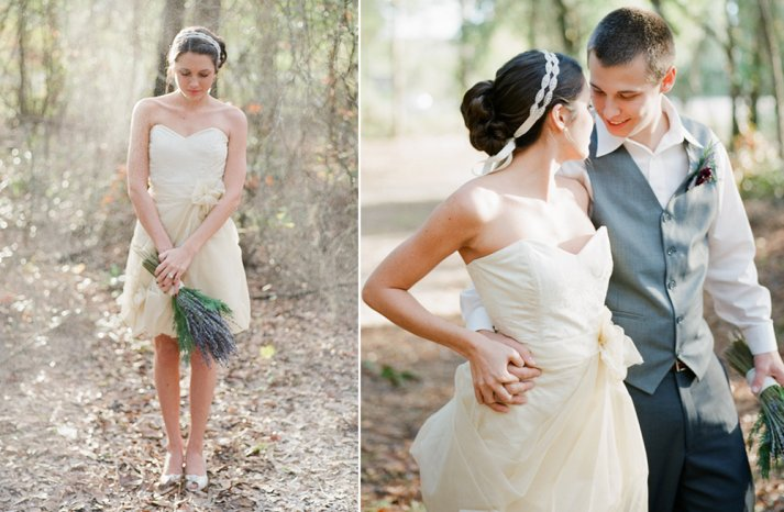 Simple sweetheart LWD ivory beige for wedding reception