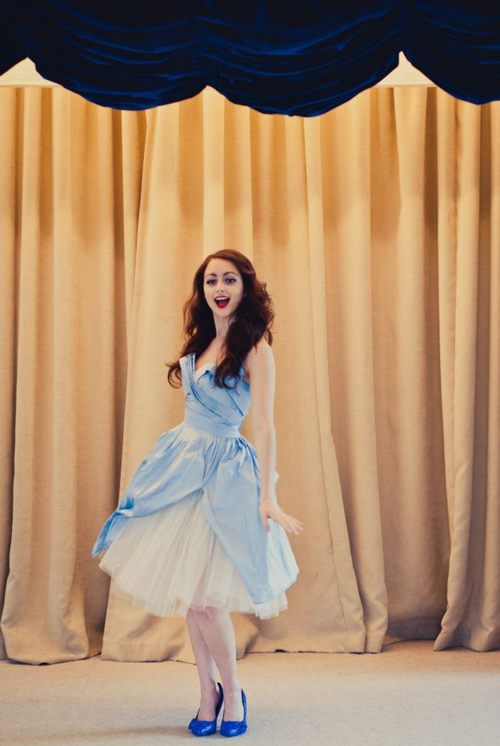 Light blue and white tea length wedding dress
