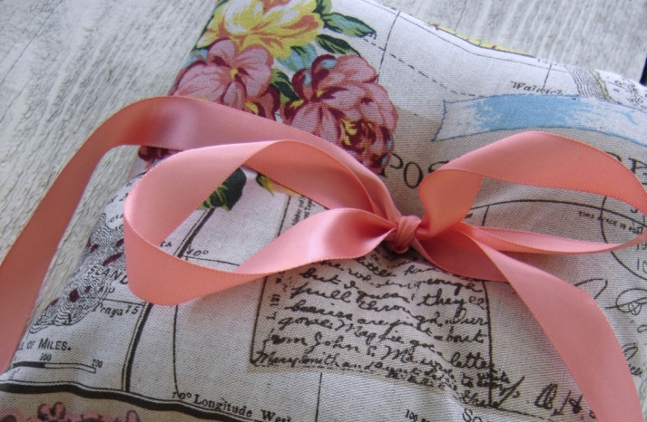 Romantic vintage wedding finds ring bearer pillow with peach ribbon