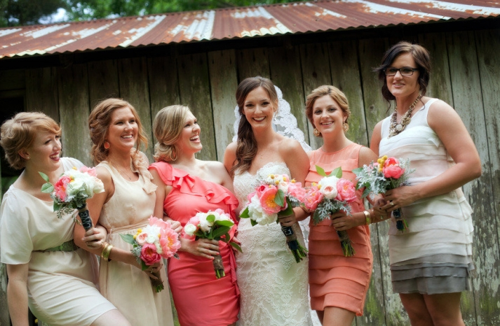Coral-cream-and-gray-mix-and-match-bridesmaids