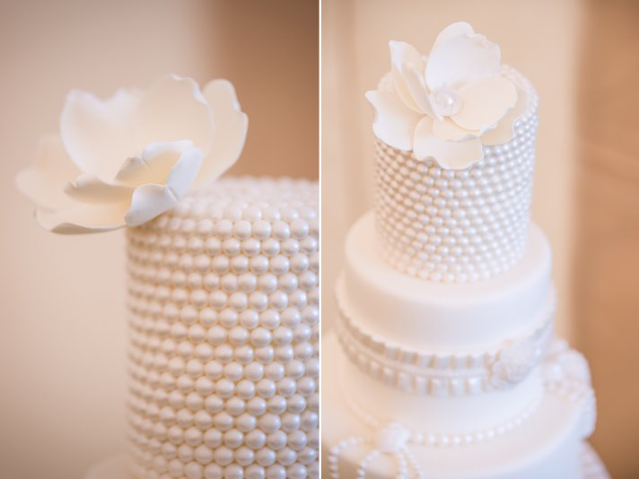 Elegant all white wedding cake