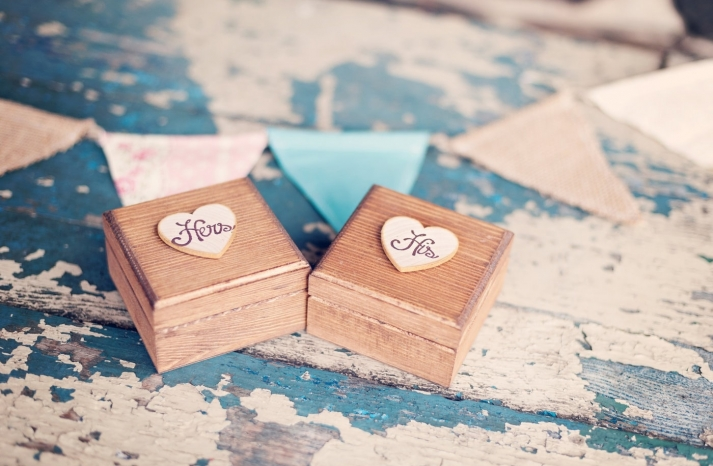 His and Hers wooden wedding boxes