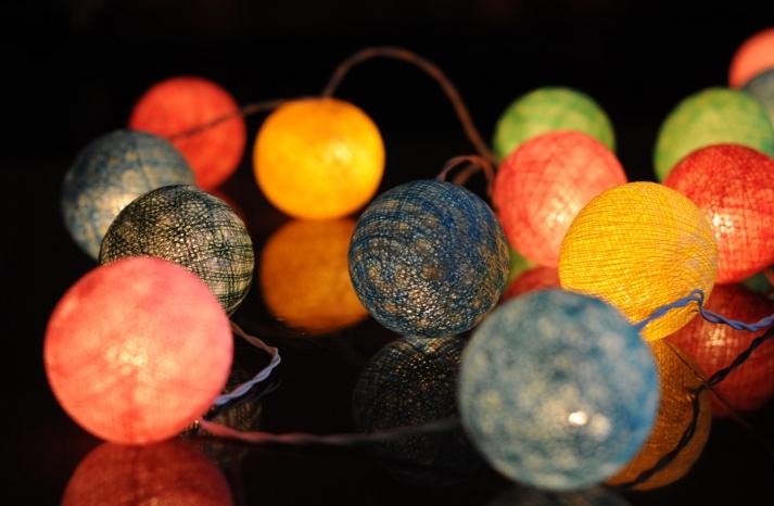 Rainbow lights on a string for wedding reception