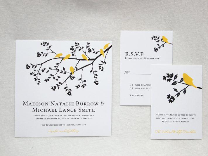 Classic romantic wedding invitations black yellow white