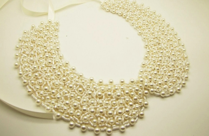 Cream pearls beaded wedding necklace