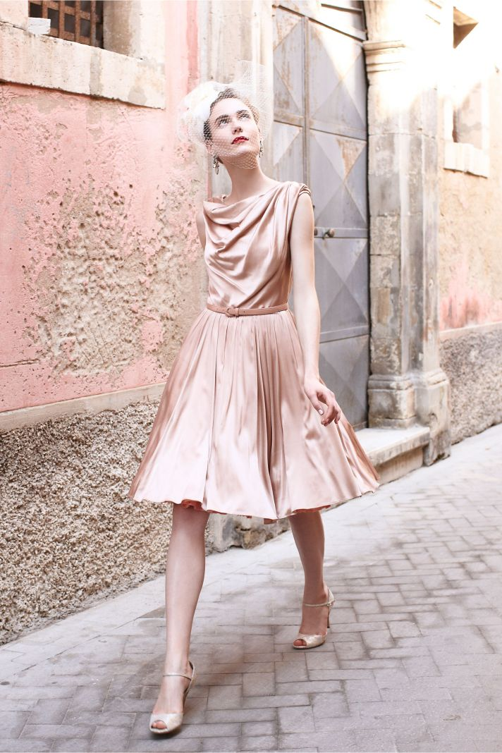 Blush pink silk bridesmaid dress with cowl neck