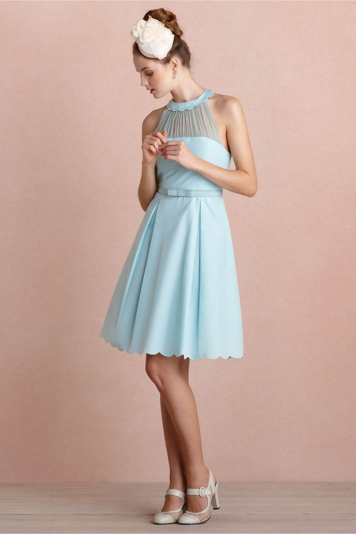 Sky blue bridesmaid dress with illusion neckline
