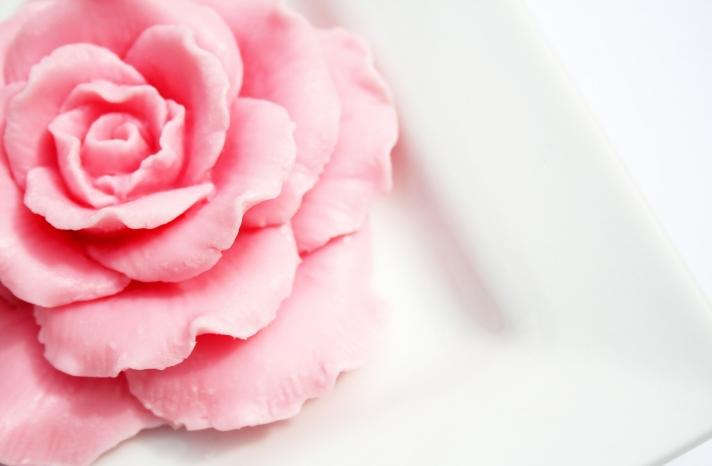 Pastel rose soap for wedding favors