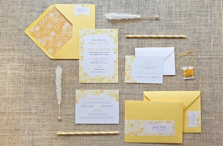 White and Yellow Daisy Wedding Invitations
