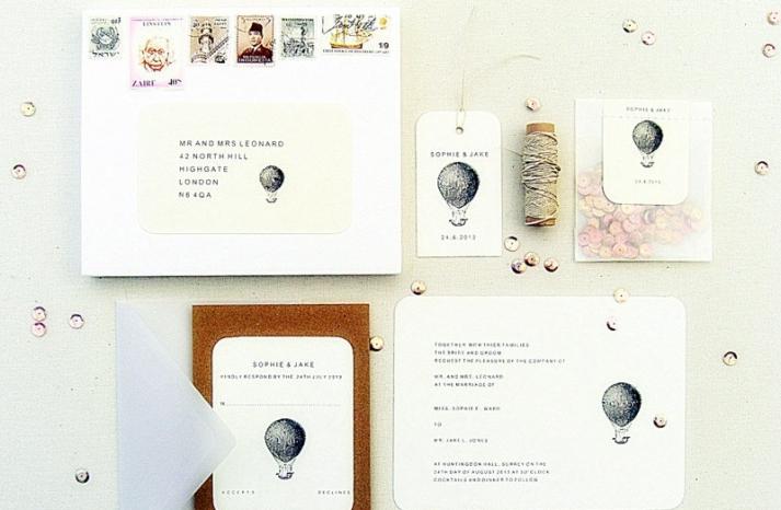 Vintage balloon wedding invitation suite