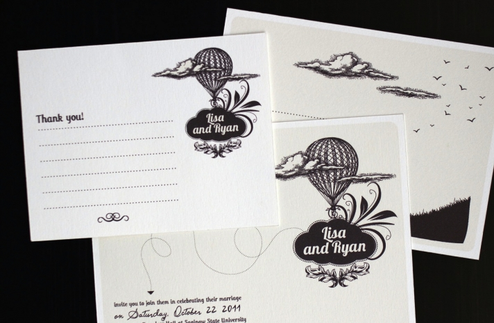 Black and white custom wedding invites