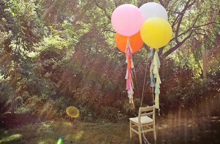 Outdoor wedding decor balloons