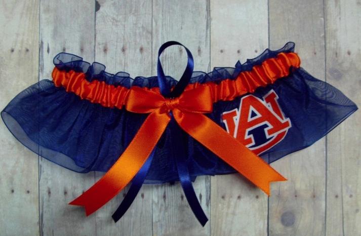 Orange blue March Madness wedding garter