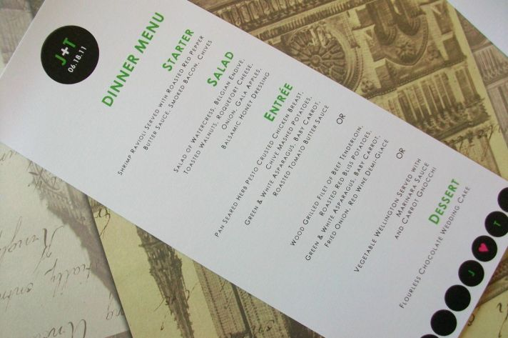 Modern wedding reception menu with custom monogram