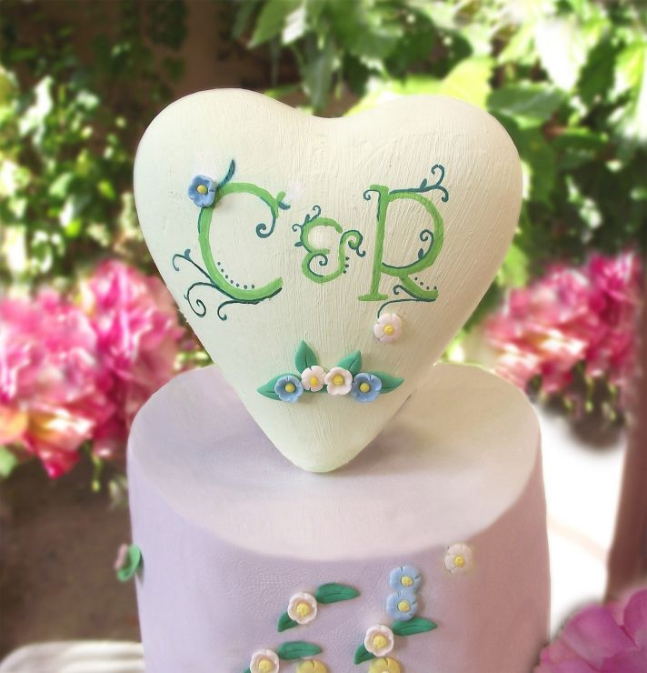 Sweet wedding cake topper hand painted