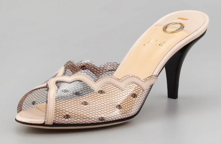 Slip on wedding shoes sheer polka dot