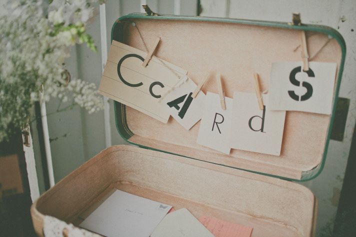 Vintage wedding cards suitcase for gifts