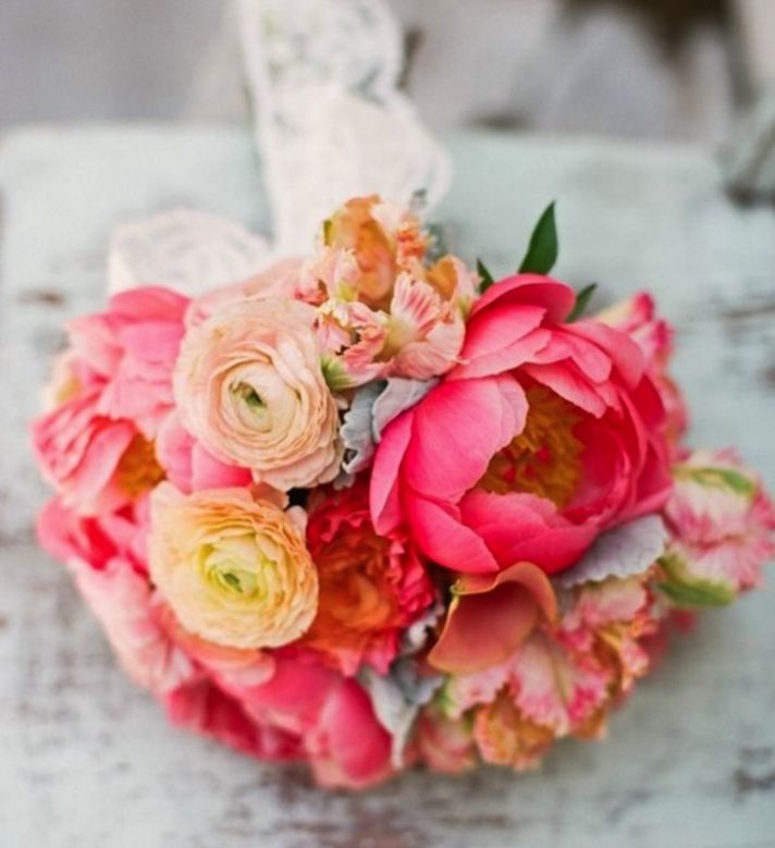 Pink and peach peony ranunculus bridal bouquet