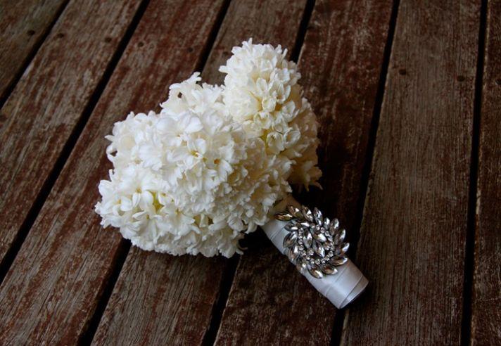 Simple ivory hyacinth wedding bouquet
