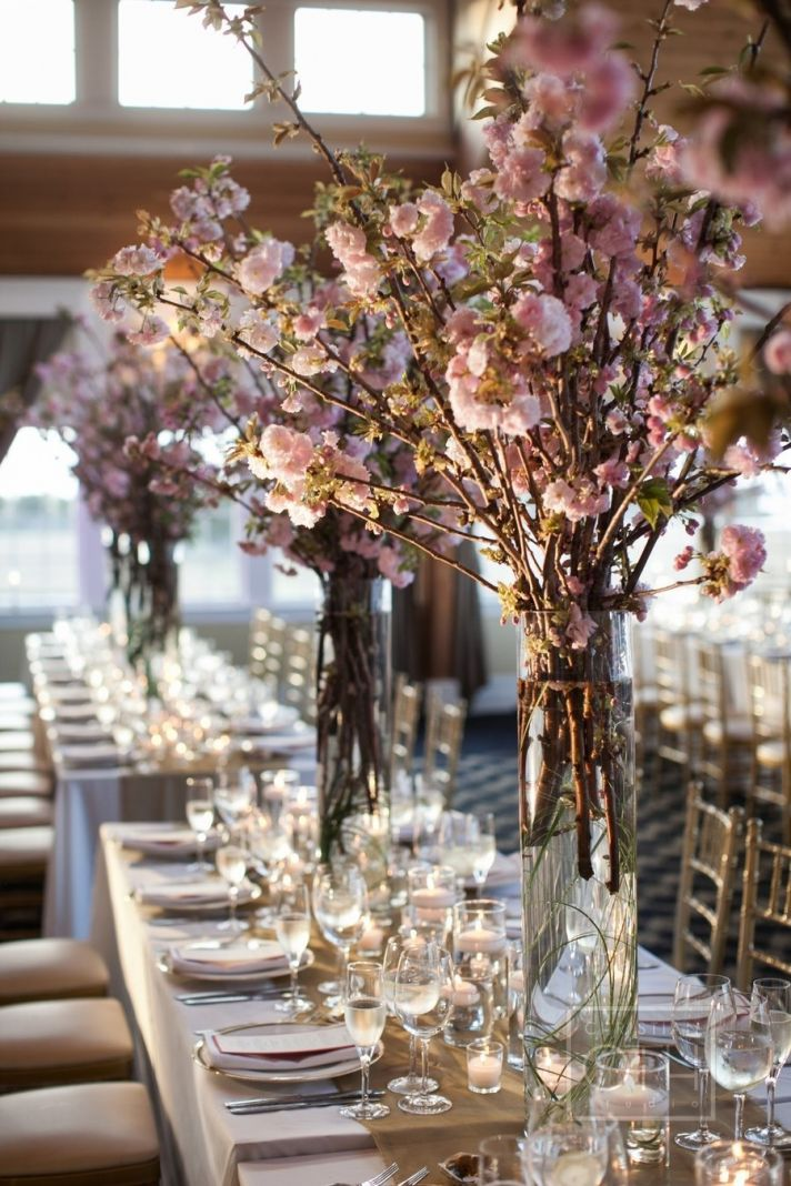 cherry blossom wedding centrepiece spring wedding ideas rainbow