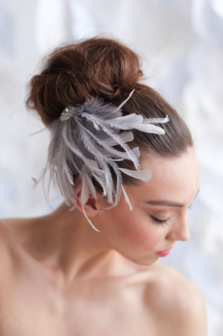 Whispy feather wedding headpiece