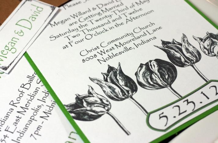 Engraved tulip wedding invitations