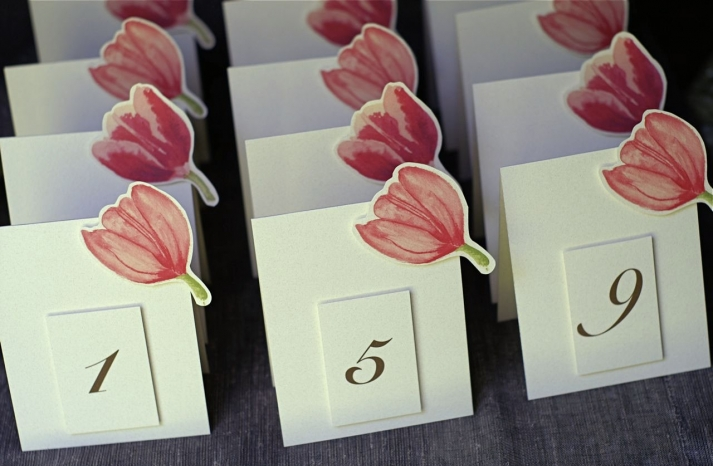 Ivory pink and black tulip wedding table cards