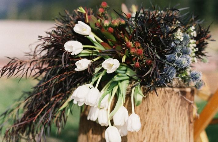 Rustic tulip wedding flower arrangement