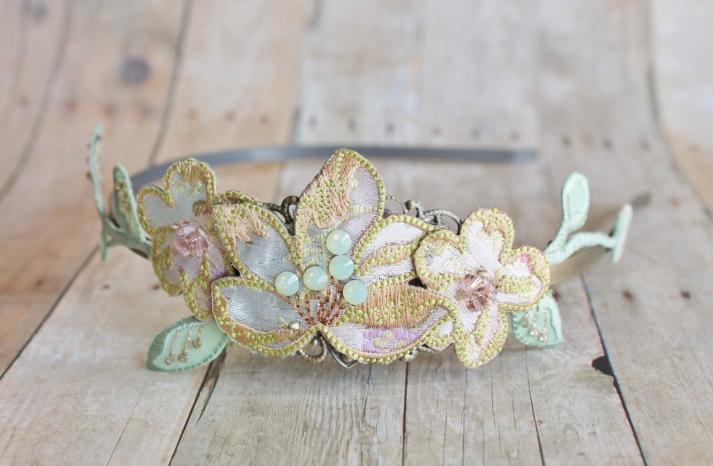 Embellished bridal tiara in spring pastels