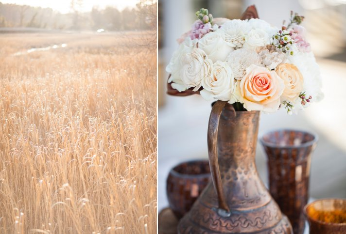 Romantic ivory and peach wedding centerpiece in copper vase