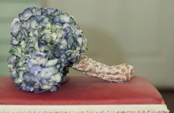 Vintage hydrangea wedding bouquet