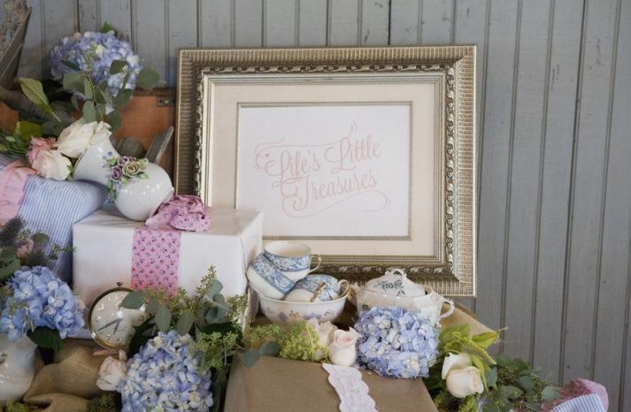 Vintage wedding reception welcome table hydrangeas