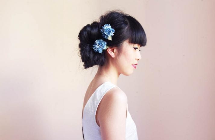 something blue wedding hair flowers